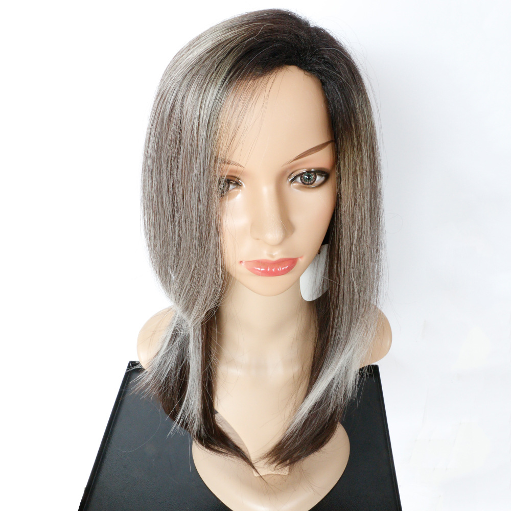 Soloowigs Kinky Straight Gradient Peruk High Temperature Fiber Women Long 20inch Synthetic Hair Pieces Full Lace Wig