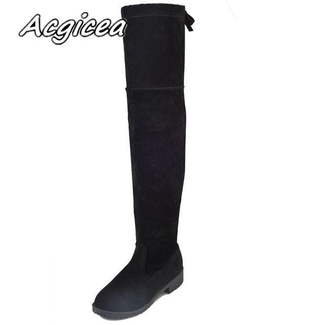 2018 stivali delle donne di autunno e di inverno di trasporto nuovo sopra gli stivali al ginocchio elegante e minimalista comfort plus cotone Gregge piatto stivali w34