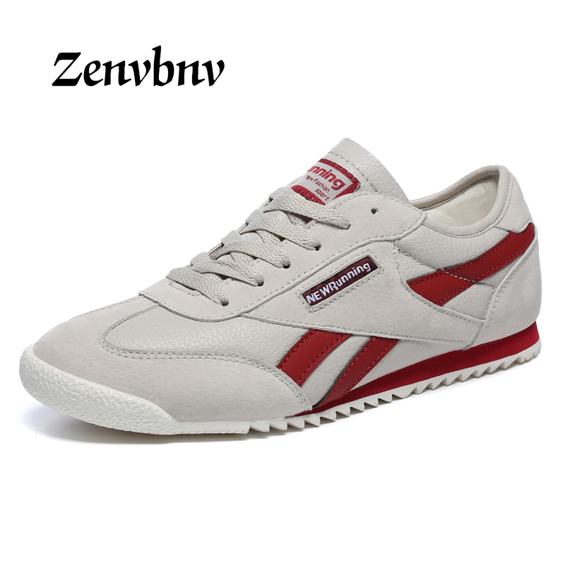 ZENVBNV 2018 New Men leather Breathable Running Shoes Male Shoes Men sneakers Lace Up Comfortable Shoes Women Lovers Sport Shoes
