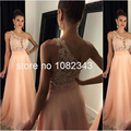 Moda Sexy Um Ombro Chiffon Rosa Beading Lace Vestidos de Noite Longo 2016 Até O Chão vestido de noiva Q1255