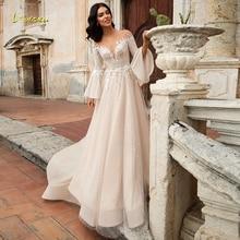 Loverxu Demure Scoop A Line Wedding Dress Chic Applique Long Flare Sleeve Backless Bride Dress Court Train Bridal Gown Plus Size