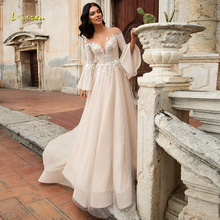 Loverxu demure scoop a linha vestido de casamento chique apliques manga longa alargamento sem costas vestido de noiva tribunal trem vestido de noiva mais tamanho
