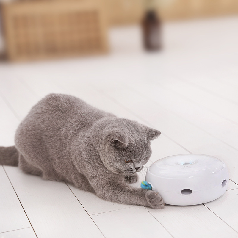 Image 2 - Electric Cat Toy Smart Teasing Cat Stick Crazy Game Spinning Turntable Cat Catching Mouse Donut Automatic Turntable Cat Toy-in Cat Toys from Home & Garden