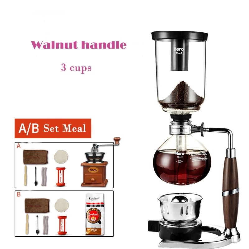Coffee pot Coffee maker, home coffee machine, siphon glass siphon pot, manual coffee set snowflakes pattern coffee tea 6 in 1 cup pot set brown
