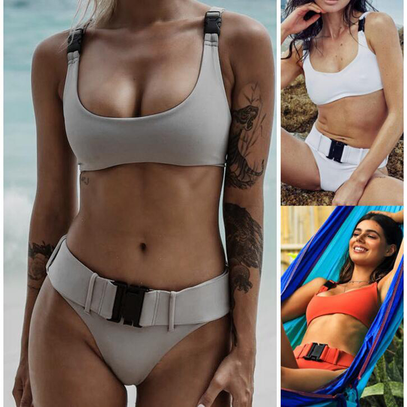 Sexy Women Swimsuit Bikini High Waist 2019 New Bathing Suits Swim Push Up Beach Wear M47 in Bikinis Set from Sports Entertainment