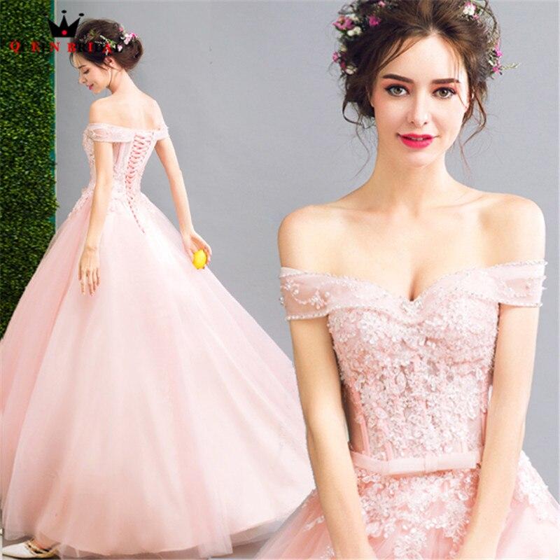 Rose robe de Bal Tulle Dentelle Perles Élégant Longue Formelle Robes De Soirée 2018 Nouveau Parti Robe de Soirée Robe Dropshipping WS20