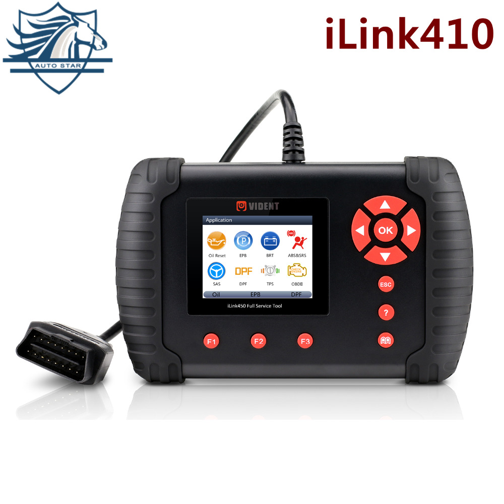 VIDENT iLink410 ABS SRS Ferramenta de Diagnóstico OBDII, ABS Air Bag Código de Leitura/Claros EPB Reset SAS Calibração Aviso Melhor do que NT414