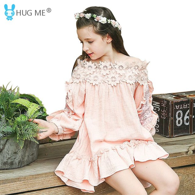 94a19c5730e9 Asymmetrical Pink Princess Dress Girl Kids Party Dress Long Sleeves Solid Ruffled  Off Shoulder Dress with 3D Flowers Applique