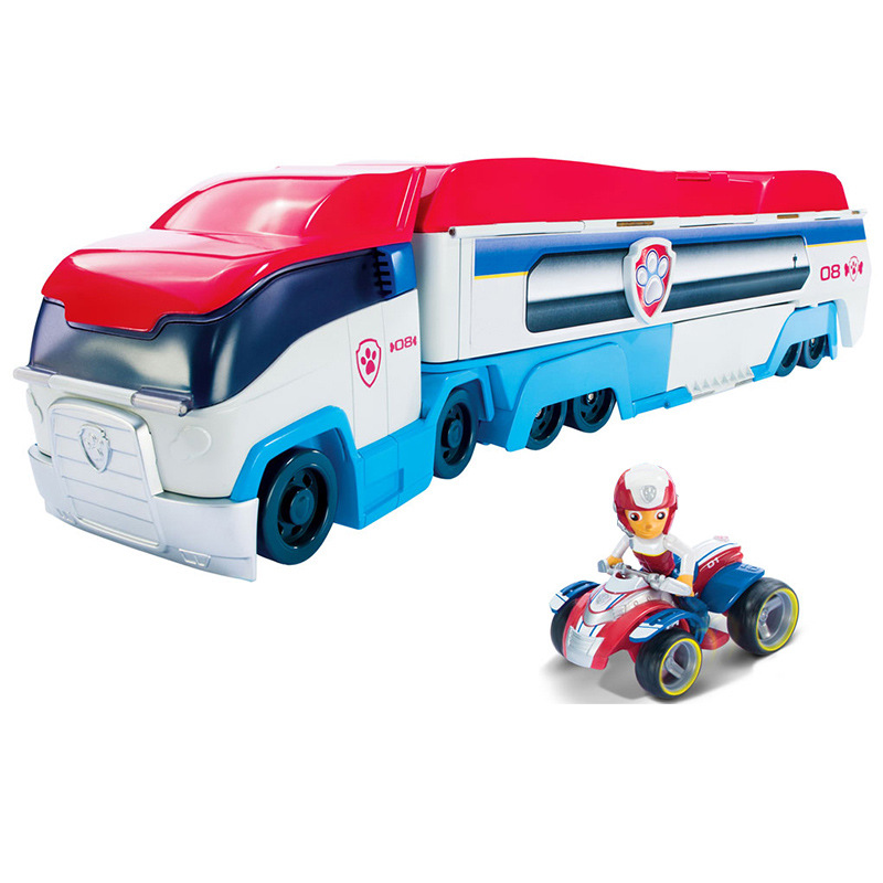 New Small-Scale Paw Patrol Patroller Bus Music Dog Rescue Base Set Vehicle Toy Anime Action Figure Model Kids Birthday Best Gift