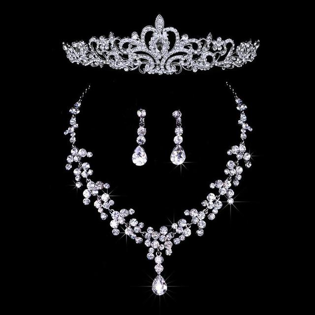 Bridal Wedding Jewelry Set Rhinestone Tiara Crown Necklace Earrings