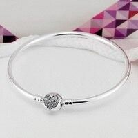 925 Sterling Zilveren Armband Pave Crystal Heart & Star Circulaire Sluiting Geschikt Voor Vrouwen fit Lady Kralen Charms Hanger