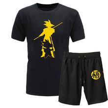 2019 novo verão z goku 2 peça t-shirts + shorts o-pescoço manga curta tshirt casual vegeta harajuku marca roupas