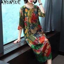 AYUNSUE Новое Летнее шелковое платье женское повседневное Цветочное платье размера плюс пляжное платье миди Boho женские платья Vestito Donna KJ1850