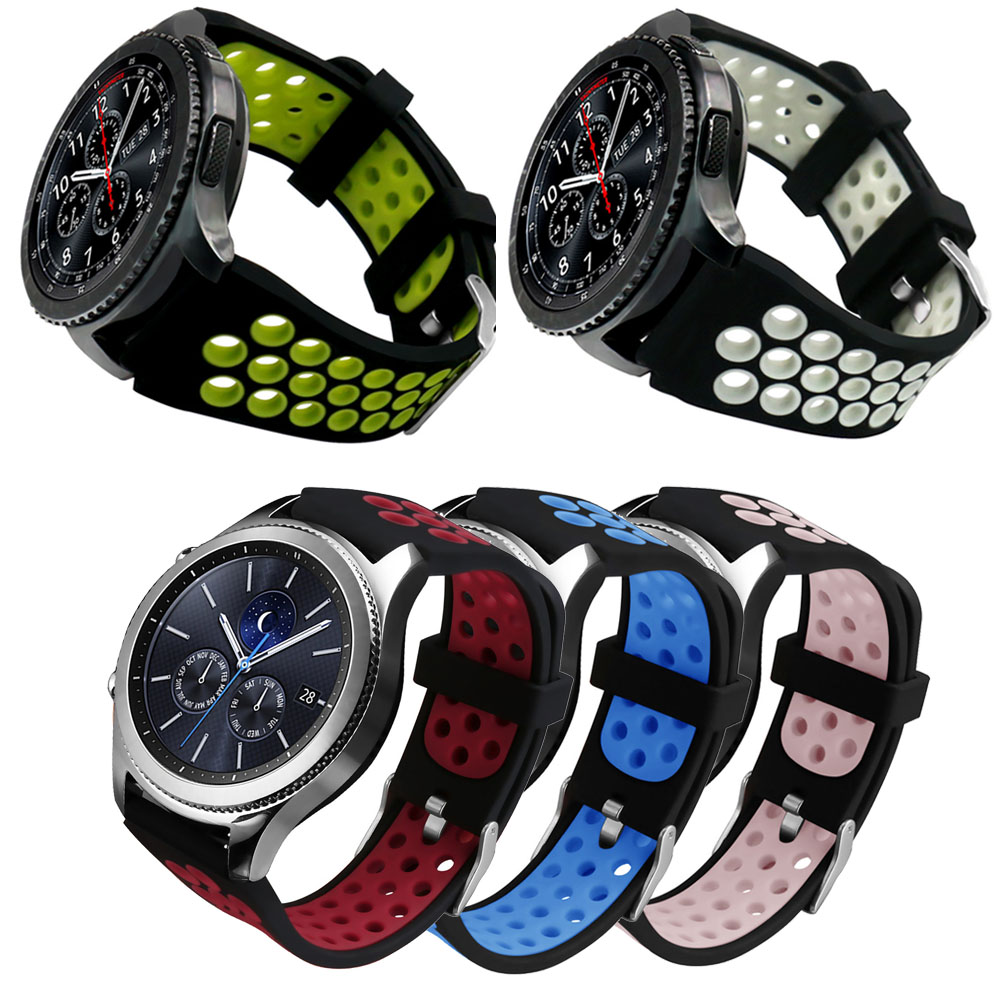 22mm Silicone Band for Samsung Gear S3 Frontier R760 Strap Dual Colors Breathable Wristband for Gear S3 Classic R770 Watch Band silicone sport watchband for gear s3 classic frontier 22mm strap for samsung galaxy watch 46mm band replacement strap bracelet