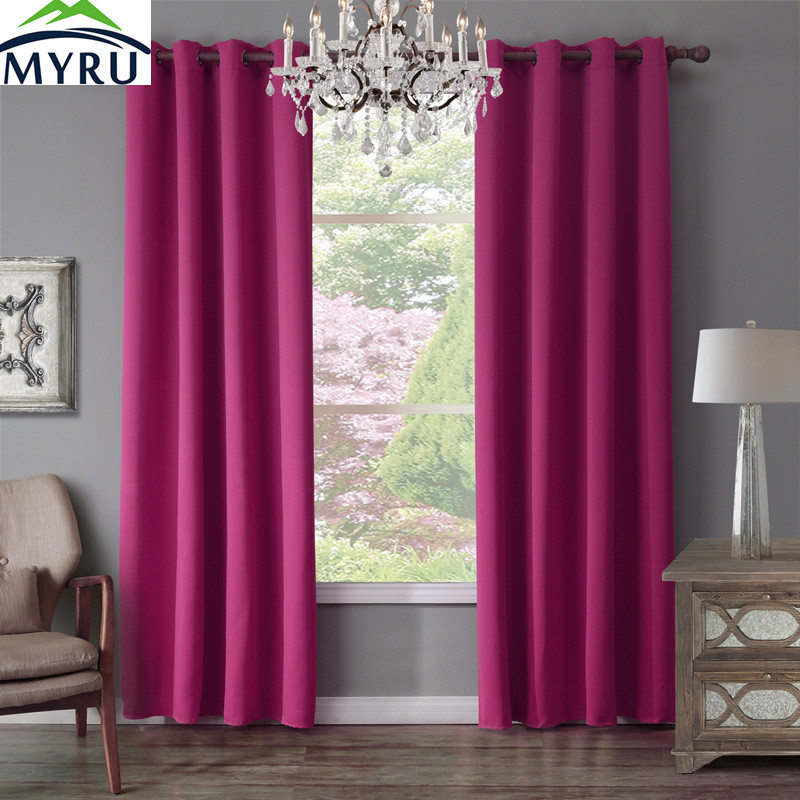 MYRU Fashionable Dark Pink Window Cutains 4 Sizes Curtains For Home Windows Using-in Curtains