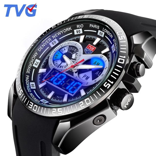 962cba74228 TVG Marca de Luxo Militar Homens Relógio de Quartzo Analógico Pulseira de  Silicone Relógio Relógio Homem