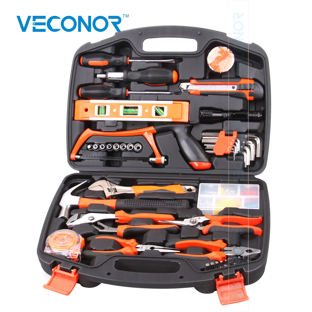 Veconor Multifunctional Hand Tool Set Household Kit Saw Screwdriver Hammer Tape Measure Wrench Plier Practical Tools 55pcs hand tool set kit household tool kit saw screwdriver hammer tape measure wrench plier