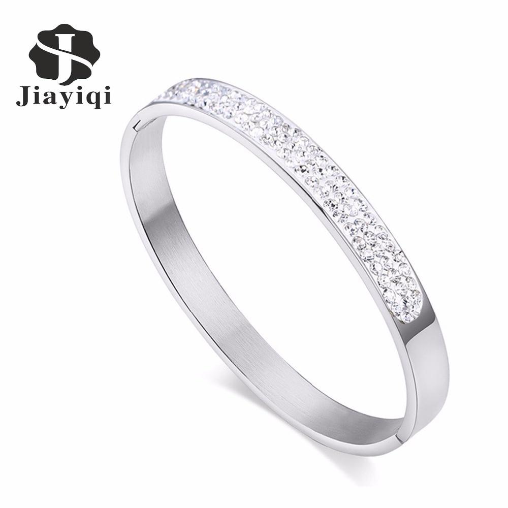 Jiayiqi Fashion Women Bracelet Titanium Steel Silver Color Charm Bracelet Cubic Zirconia Bracelets & Bangles For Women Jewelry недорого