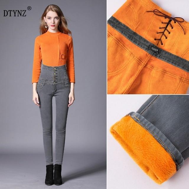 DTYNZ   jeans   plus velvet thick elastic lace small high waist ladies denim trousers winter warm slim feet pants   jeans   large size