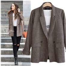 XL-5XL Plus size Autumn Vintage Plaid Women Blazer Pocket Jackets Winter Female Suits Coat Large Size Blazers Jacket Outerwear