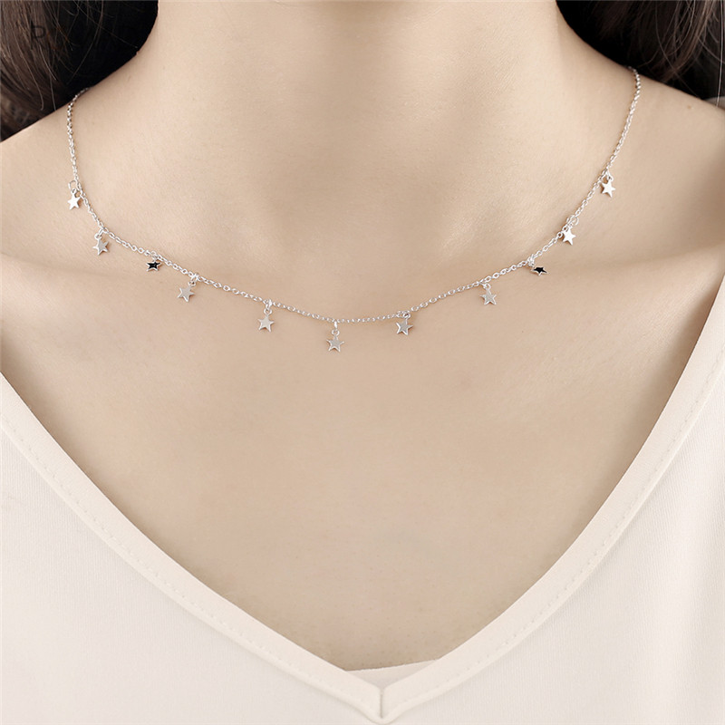 Romad 925 Sterling Silver Star Pendant Necklace Women Choker Bohemian Star Necklace Short Chain Necklace Charm Jewelry