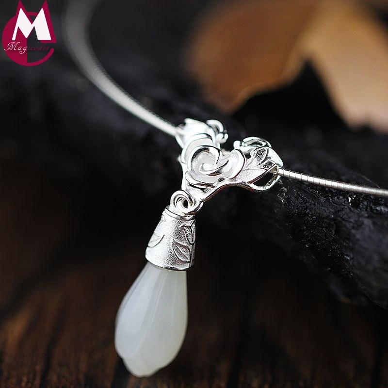 Émail Magnolia Design 19mm * 8mm pierre naturelle sculpture fleur Jade pendentif avec chaîne de serpent 925 collier en argent Sterling femmes