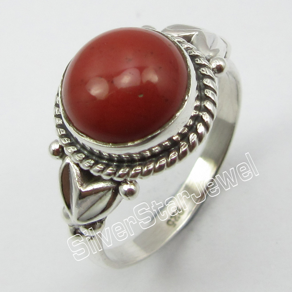 Solid Silver RED Jaspers Tribal RING SIZE 7.25 ! Cab Stone Jewelry