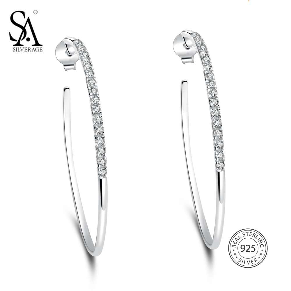 SA SILVERAGE 925 Sterling Silver High Polished Hoop Earrings Rhinestone Simple Big Circle Earrings For Women pair of stylish rhinestone triangle stud earrings for women