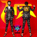 2016 Gold Black Printing Suits Male Blazer Ankle-Length Pants Stage Show Costume Nightclub Dj Suits For Men Singer outfit Wear