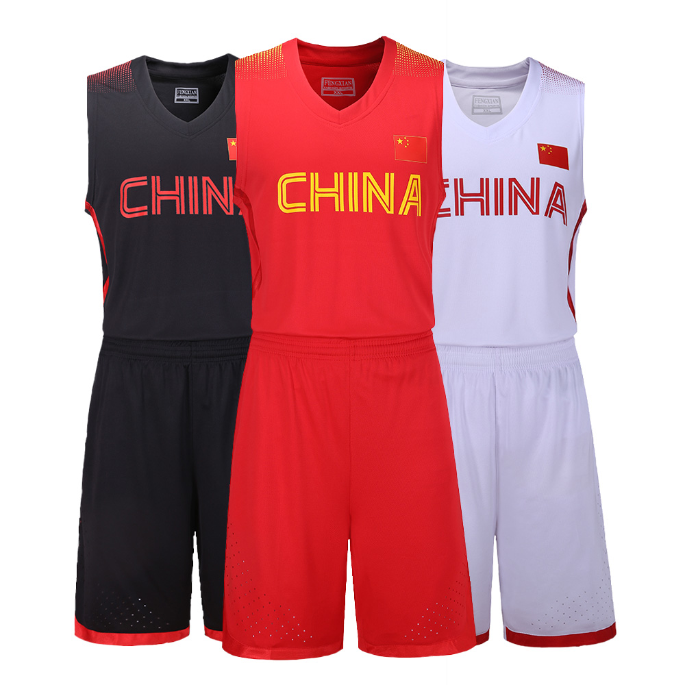 the latest 43d4e ccade US $21.91 10% OFF|Adsmoney Polyester Chinese country team Custom Basketball  Jersey Suits Basketball Clothing throwback jerseys sets-in Basketball ...