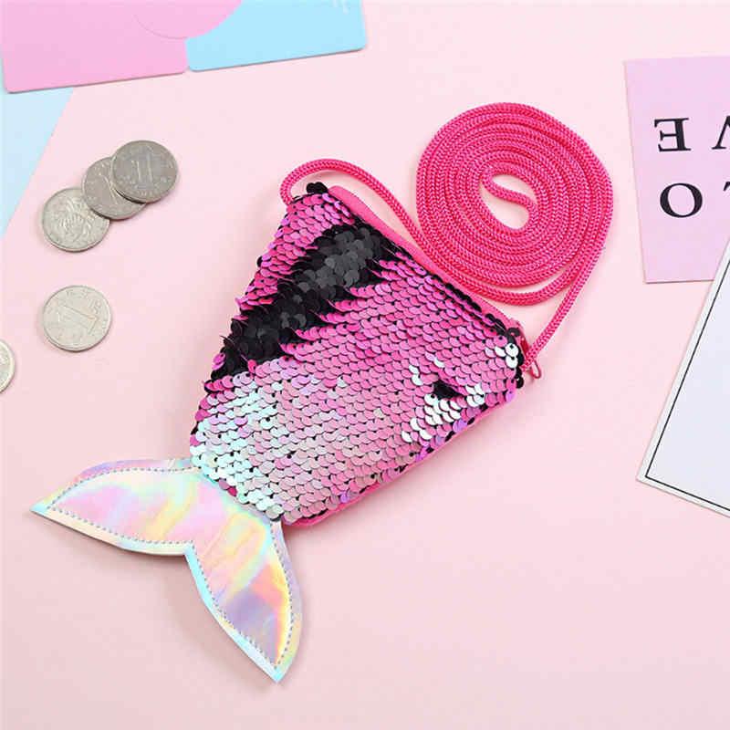 Bonito rabo de Peixe Lantejoulas Cordão Bolsas Zipper Carteiras Bonito Bolsa Pequena Bolsa Da Moeda Da Carteira Chave Packet Mini Carteiras