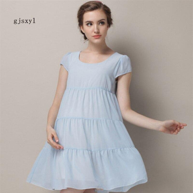 2017New comfortable fashion pregnant women summer new pregnant women dress chiffon cool round neck short-sleeved big fairy
