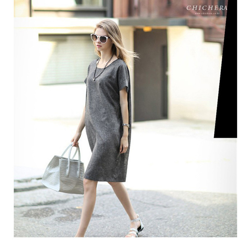 130dbc3c08 Large size cotton and linen dress Gray was thin simple Casual dresses L XL  XXL 3XL 4XL 5XL Summer clothing for women vetement-in Dresses from Women s  ...