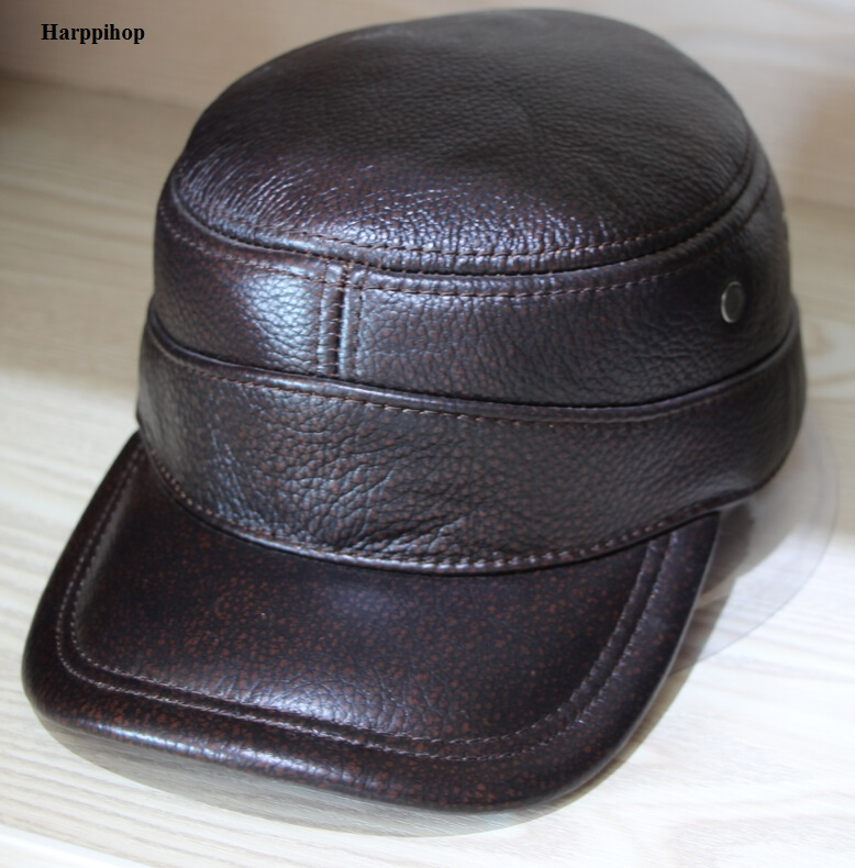 Sell Popular Genuine Leather Caps Winter Warm Hats Adjustable Ear Protect Premium Quality Hat Cap Free Shipping