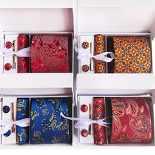 2018 Luxury Men's Tie Set Silk Neckties Paisley Floral Ties for Men Handkerchief Cuff Links Gift Box Packing