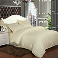 Wholesale Beige Yellow Stripes Hotel Bedding Set 100% Satin Cotton Duvet Cover Quilt Cover Twin Full Queen King Super King Sizes