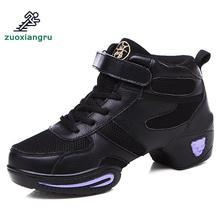 цена на New Female Soft Bottom Modern Jazz Dance Shoes Square Dancing Shoes Leather Mesh Women Sneaker New Ladies Street Dance Shoes