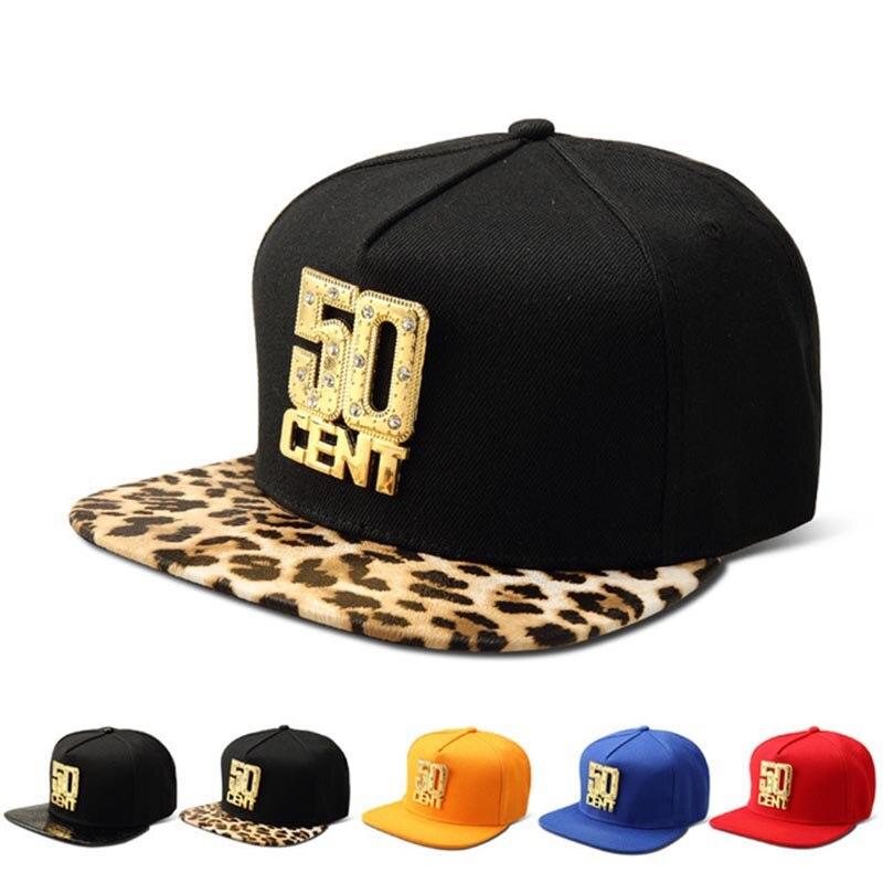 Missfox Hip Hop Gold 50 Cent Rhinestone Men Hat Five Colors Cool Black Hats Caps Men Flat Brim Crocodile Pattern Hip Hop Caps