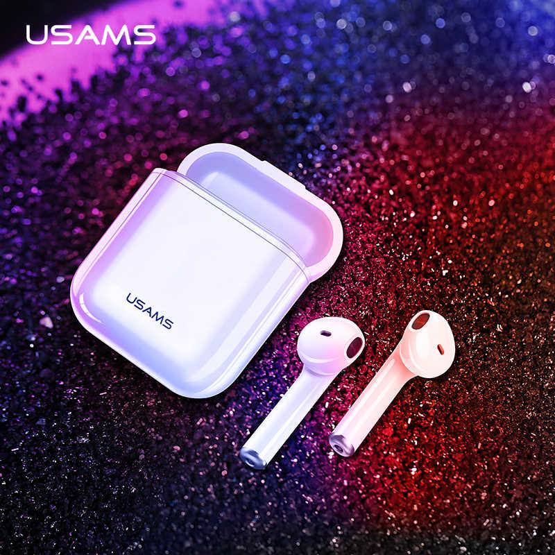 USAMS Bluetooth Earphone untuk iPhone Xiaomi Earbud, Tws Mini Nirkabel Bluetooth Headphone Headset untuk iPhone dengan Kotak Pengisian