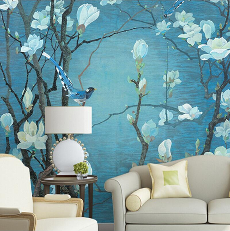 Chinese style birds and white flowers wash painting wall printing paper for living room wallpapers the hermitage birds and flowers