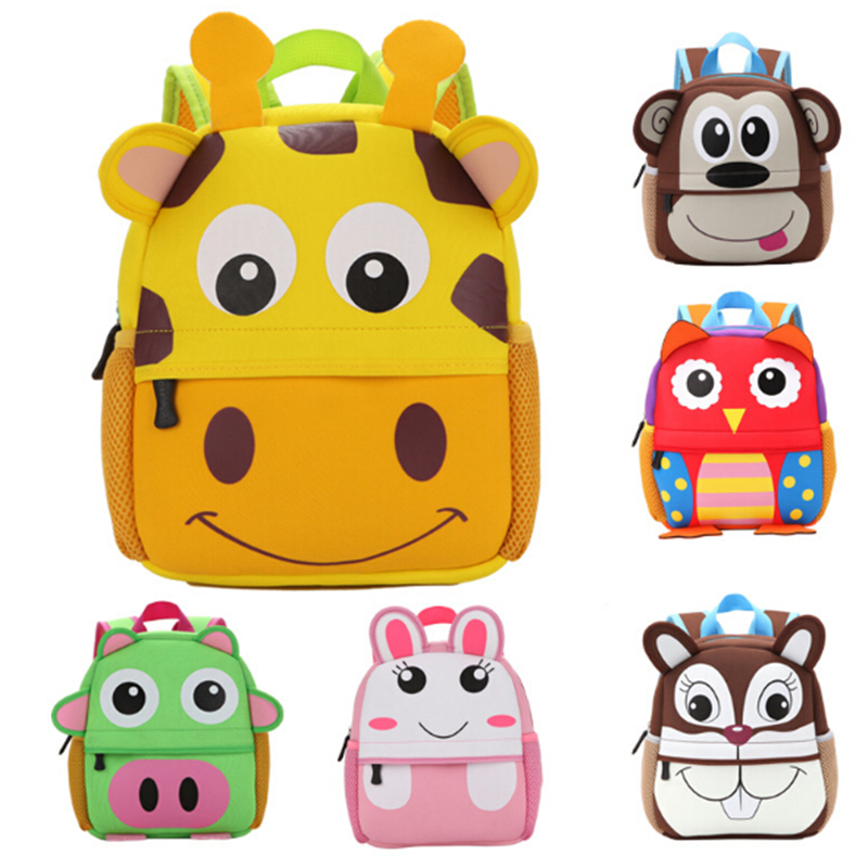 Fashion Children 3D Cute Animal Giraffe Monkey Owl Pattern Backpacks Toddler Kids School Bags Kindergarten Cartoon Backpack