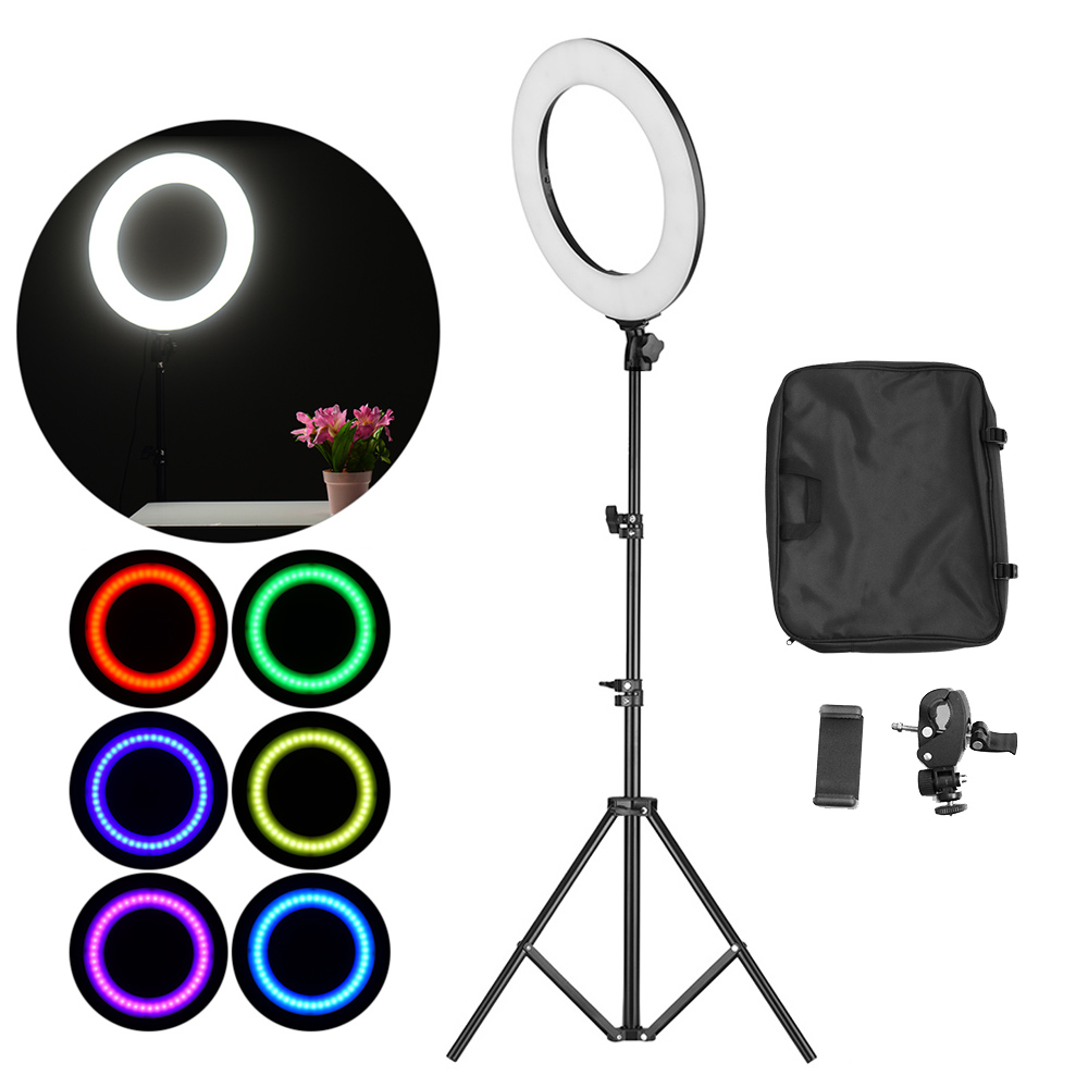 Portable 36 72W 14 Inch 3200 7000K LED Video Ring Light Studio Photography Lamp RGB Color