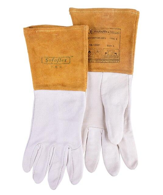 Аргонодуговая сварка TIG перчатка безопасности длинными рукавами козьей кожи кожа противопожарные сварщик перчатка работы