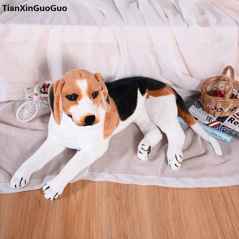 Grand jouet en peluche de chien beagle couché de 58 cm sons aboiement