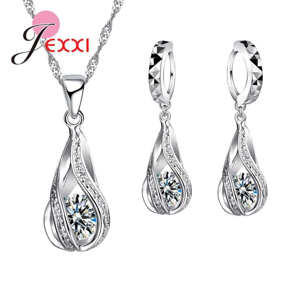 8 farben Beste Geschenk für Frauen Mädchen Freunde 925 Sterling Silber Schmuck Set CZ Cubic Zirkon Wasser Tropfen Halskette Baumeln ohrringe