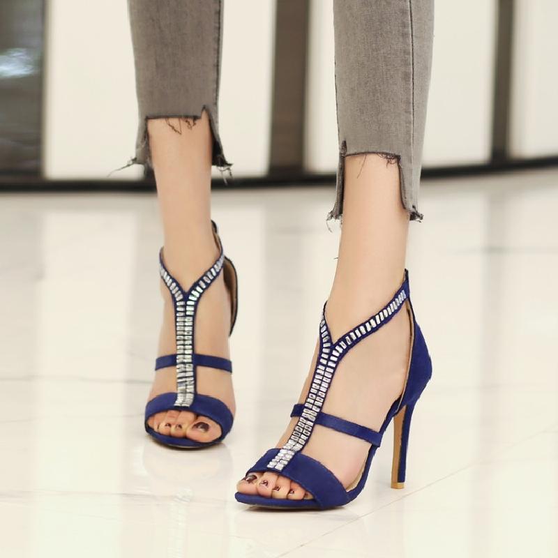 Nouveau Sandalia Grande Noir Sandales Sexy rouge Talons Strass Feminina Taille À Mode 2018 Hauts Été 46 Femmes bleu 34 SUzVqpM