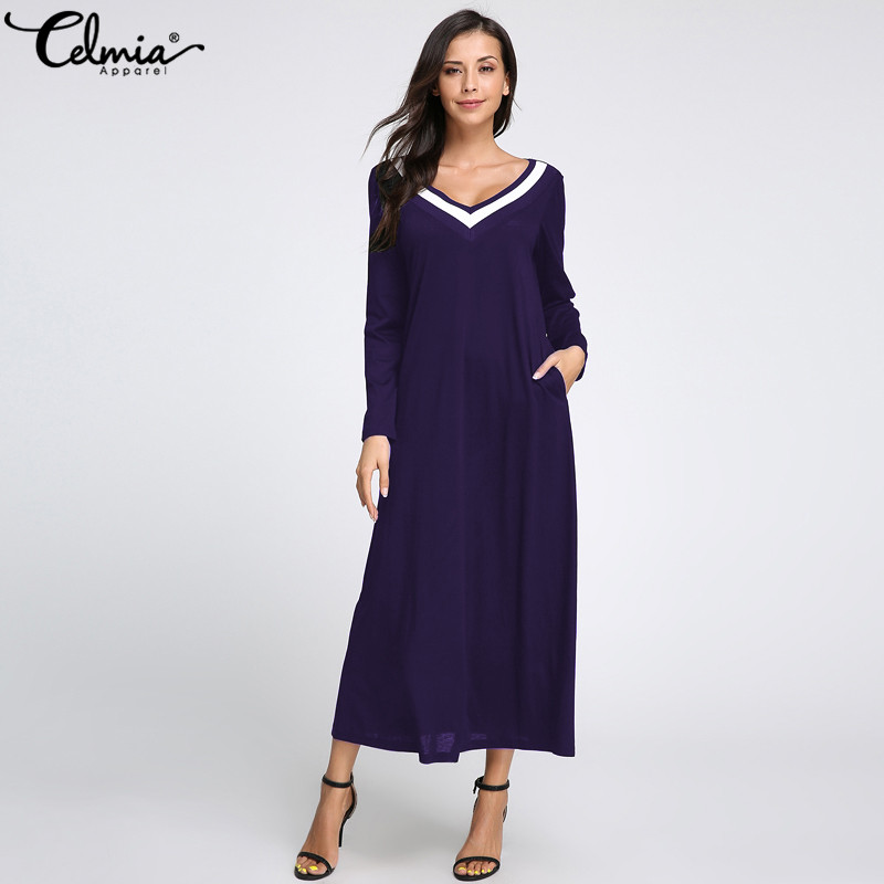 2018 Autumn Celmia Women Dress Long Sleeve Elegent Casual Long Maxi Dresses Ladies V Neck Pockets Long Vestidos Plus Size 5XL