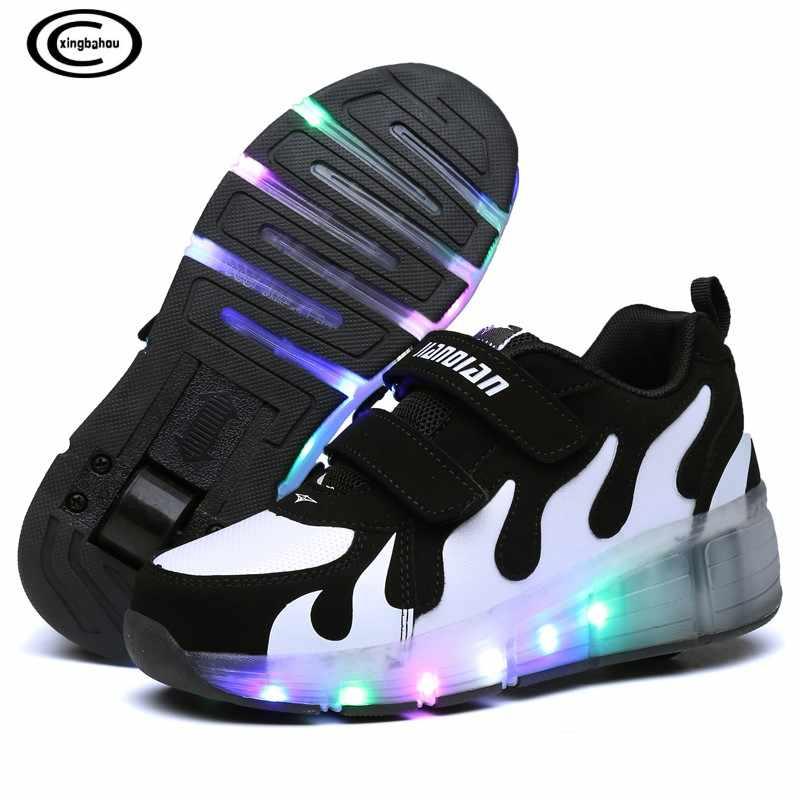 Zapatos para niños Con luces LED niños Zapatillas de patín Con ruedas brillantes luces Led para niños niñas Zapatillas Con ruedas