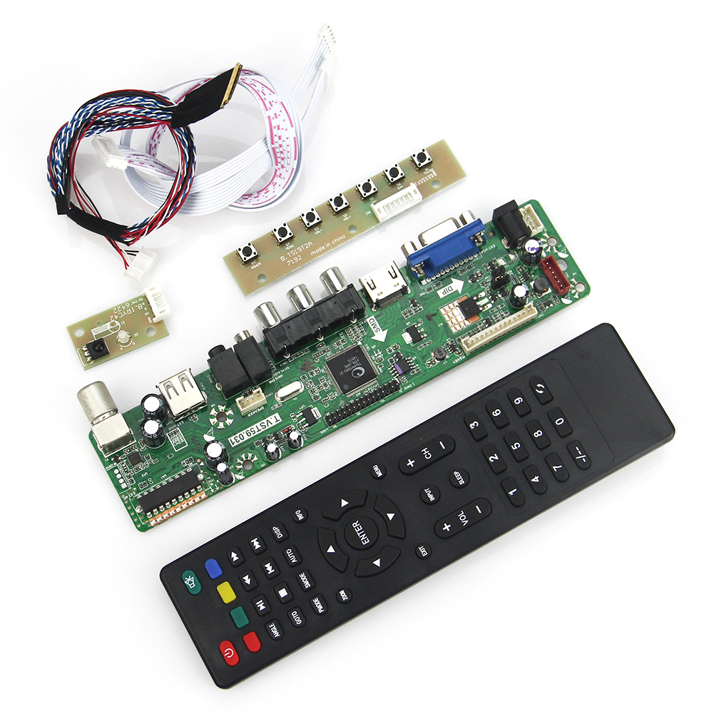 T.VST59.03 For LP156WH2-TLQB LTN156AT05 LCD/LED Controller Driver Board (TV+HDMI+VGA+CVBS+USB) LVDS Reuse Laptop 1366x768 lcd led controller driver board for b156xw02 ltn156at02 t vst59 03 tv hdmi vga cvbs usb lvds reuse laptop 1366x768