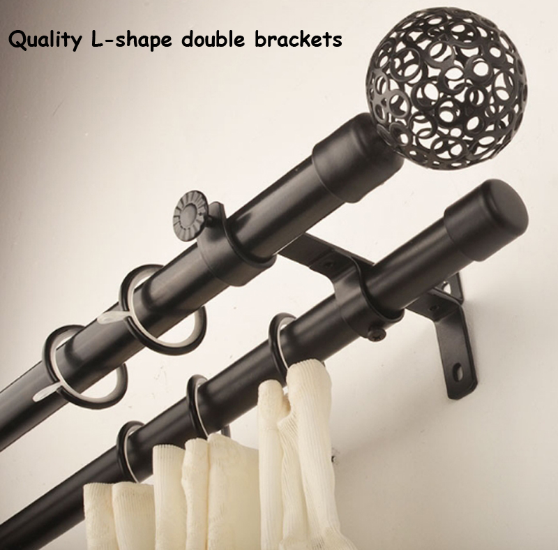 Quality good loading capacity 22+22mm(7/8inch) diameter double curtain rod set metal ball cage finial+steel brackets